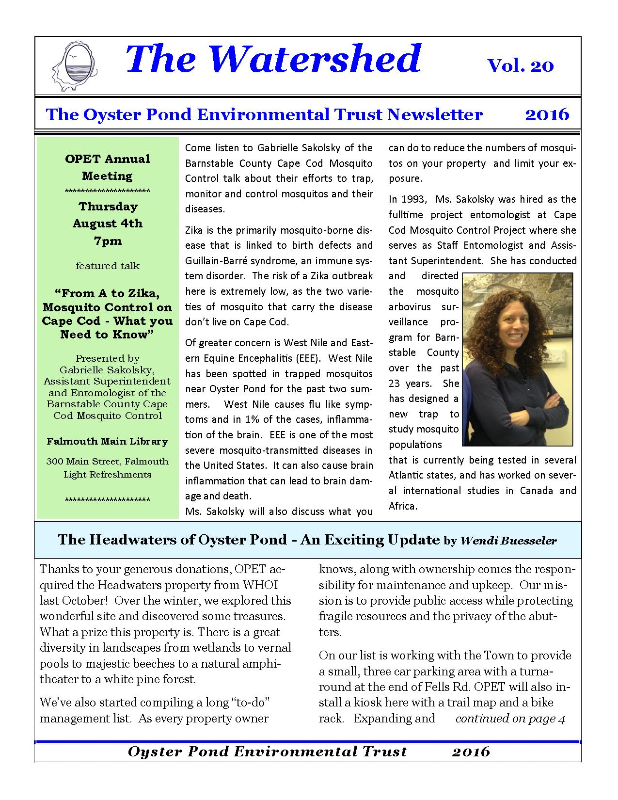 2016 newsletter front page