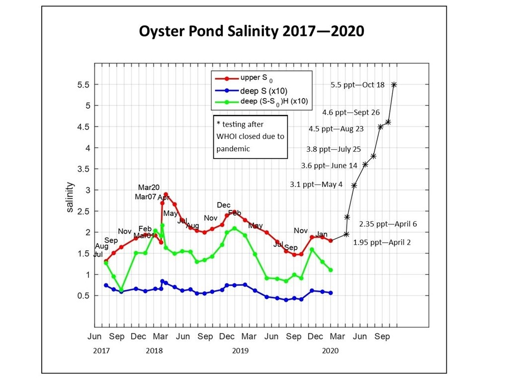 Salinity in Oyster Pond 2017 to 2020