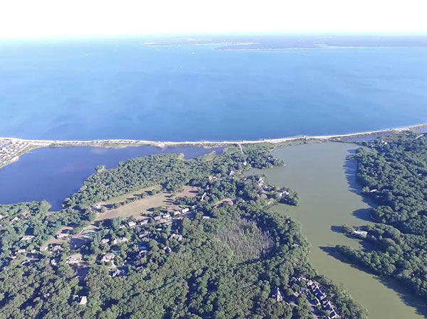 Aerail view of Oyster Pond algal bloom