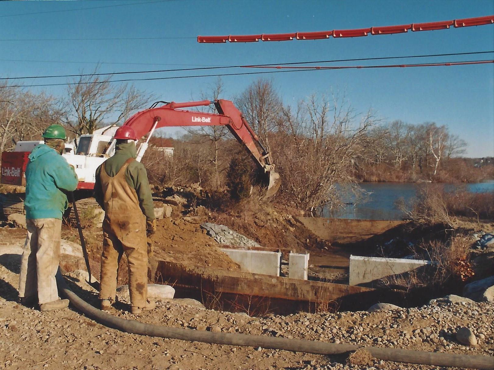 Oyster Pond weir under construction in 1998
